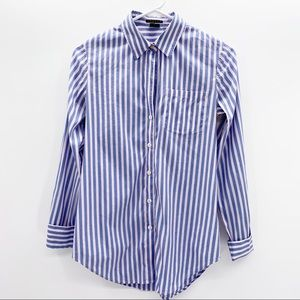 Theory Pink & Blue Fitted Button Down Blouse